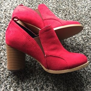 Red suede chunky heels!
